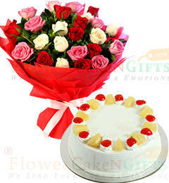 Eggless Half Kg Pineapple cake n Mix Roses Flower Bouquet