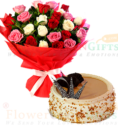 Eggless Half Kg butterscotch cake n Mix Roses Flower Bouquet