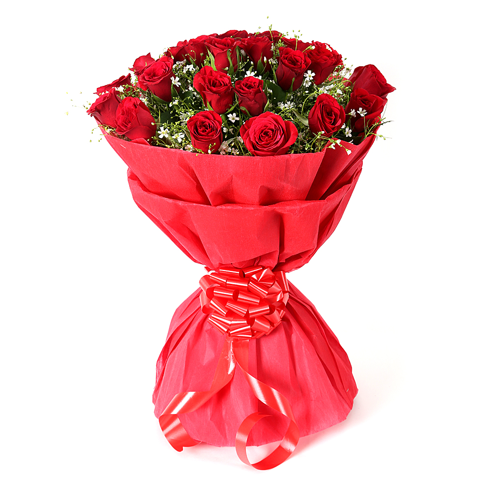 Send Buy & Order 20 Red Roses Flower Bouquet Online for Home ...