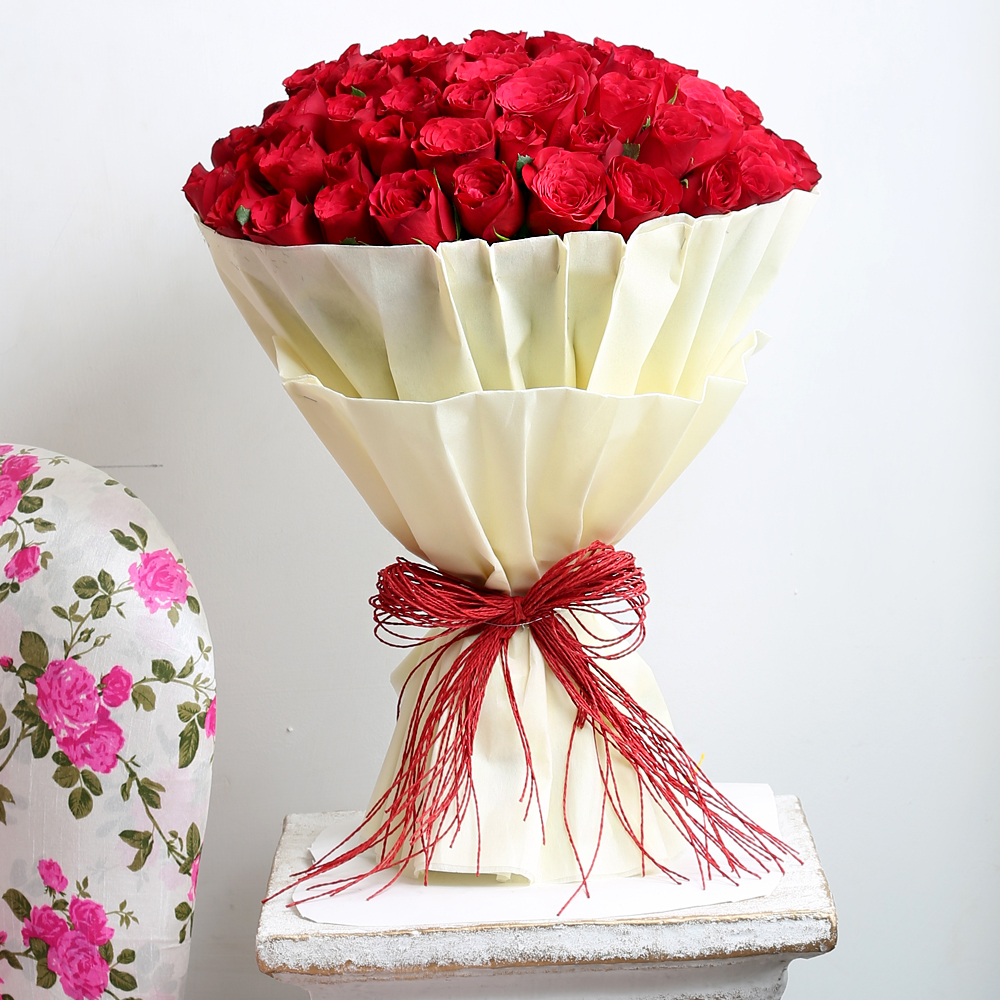 50 Red Roses Flower Bouquet