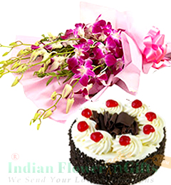 Orchids bouquet n Eggless Black forest Cake 500gms