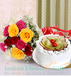 Eggless Half Kg Fruit Cake Mix Roses Flower Bouquet