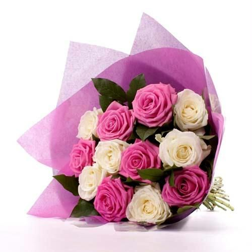 Pink n White Roses flower bouquet