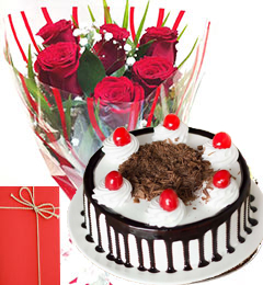 Roses Bunch 500gms Black Forest Cake with Greeting Card