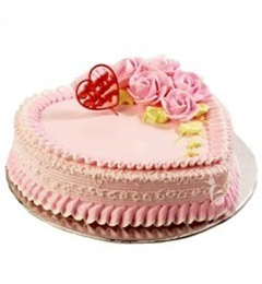 1kg heart shape strawberry cake eggless