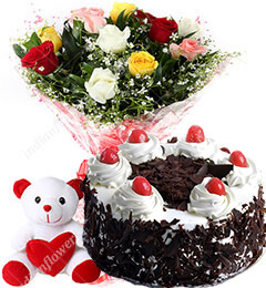 Red Roses bouquet 6 inch teddy half kg black forest cake