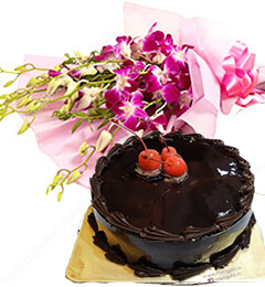 Orchids bouquet n eggless chocolate cake 500gms