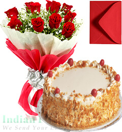 1kg Eggless Butterscotch Cake Red Roses Bunch with Greeting Card