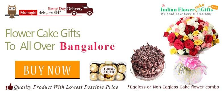 Midnight Birthday Anniversary Eggless Cake Flower Bouquet And Chocolates Delivery In Bangalore