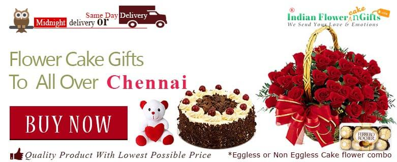 Midnight Birthday Anniversary Eggless Cake Flower Bouquet And Chocolates Delivery In Chennai