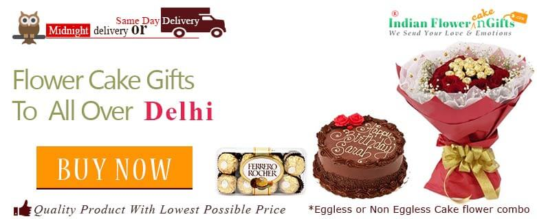 Midnight Birthday Anniversary Eggless Cake Flower Bouquet And Chocolates Delivery In Delhi