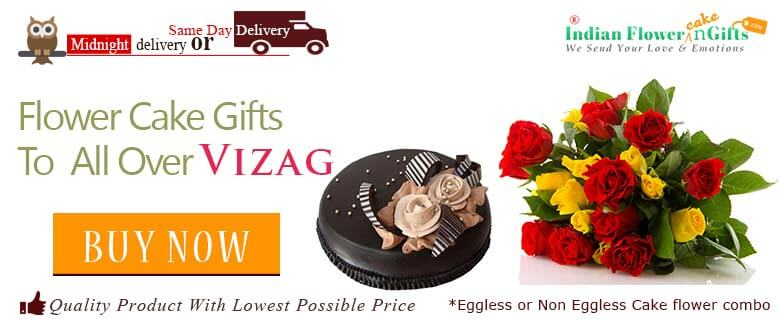 Midnight Birthday Anniversary Eggless Cake Flower Bouquet And Chocolates Delivery In Vizag Visakhapatnam